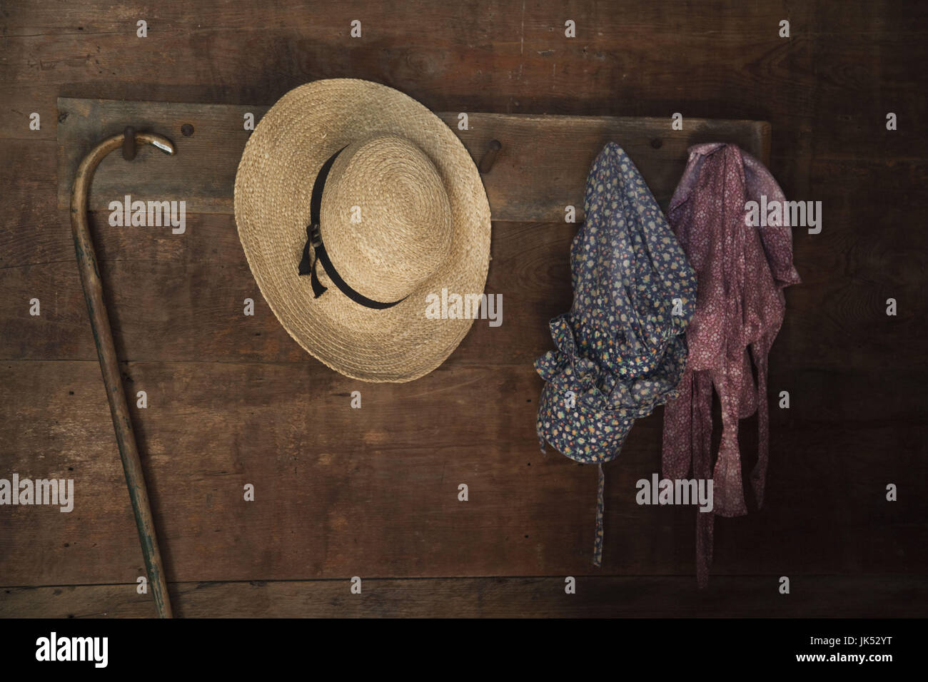 USA, Alabama, Montgomery, Old Alabama Town, Log Cabin interior - Stock Image