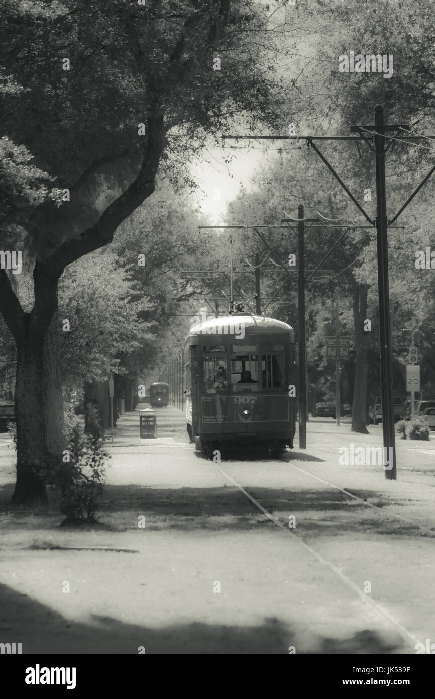 USA, Louisiana, New Orleans, streetcar, St. Charles Avenue, infra-red effect - Stock Image