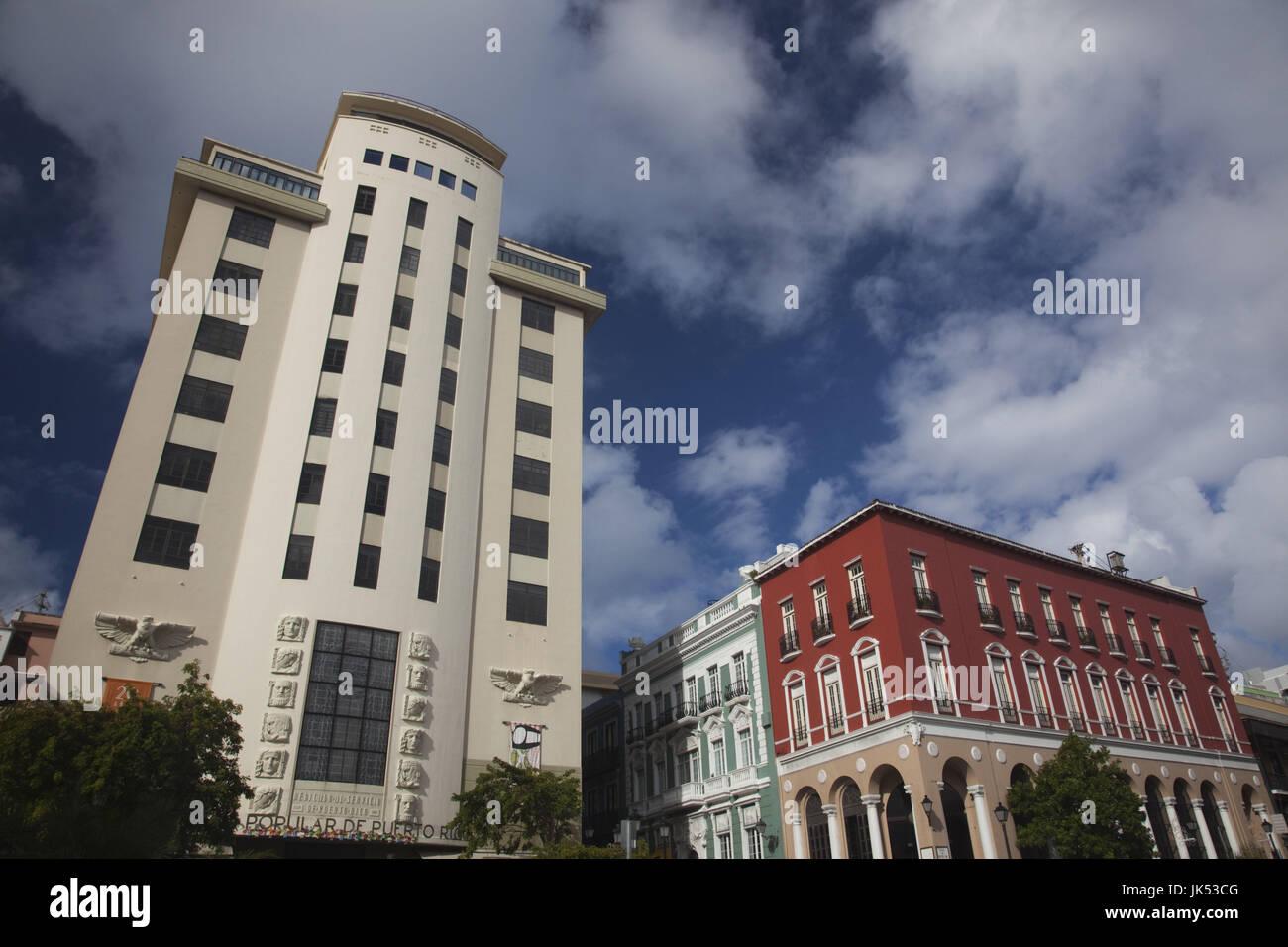 Puerto Rico, San Juan, art-deco Banco Popular building - Stock Image