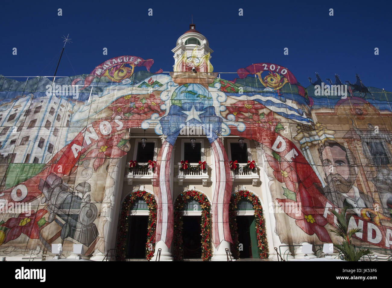Puerto Rico, West Coast, Mayaguez, Plaza Colon, Teatro Yaguez theater with Christmas decorations - Stock Image