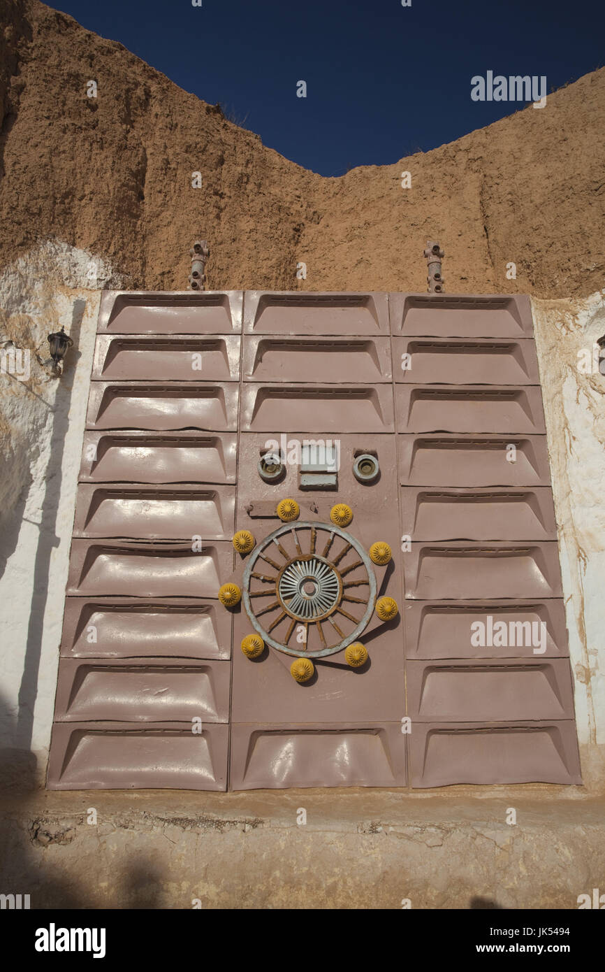 Tunisia, Ksour Area, Matmata, Hotel Sidi Driss, door used as set for the film Star Wars - Stock Image
