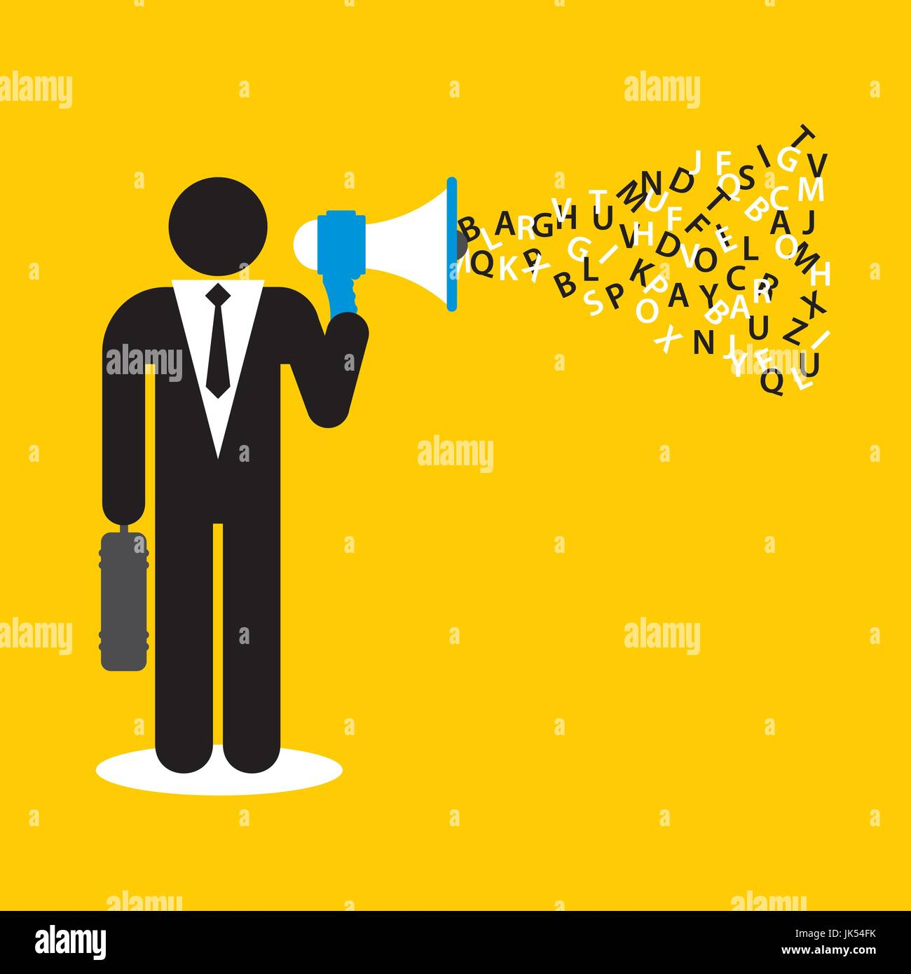 Businessman with megaphone and alphabet in vector illustration - Stock Vector