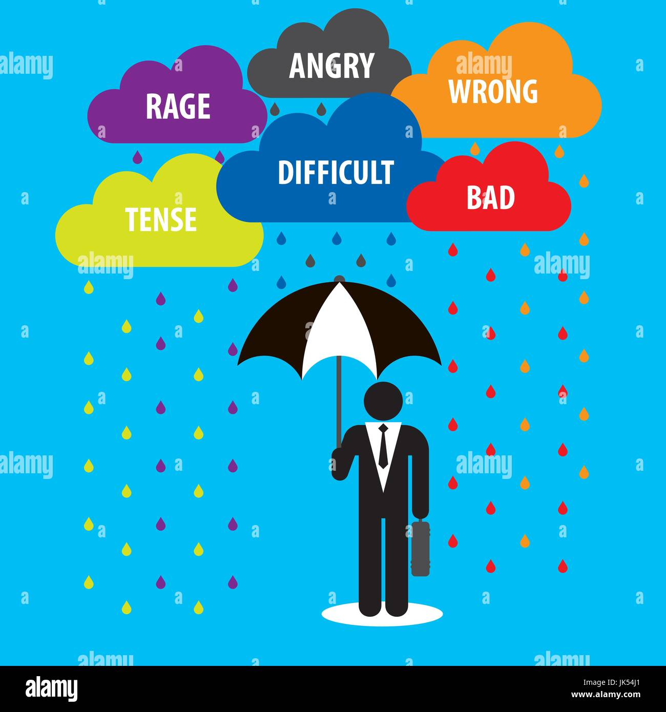 Protection with cloud umbrella with problems in business.Concept of businessman. Stock Vector