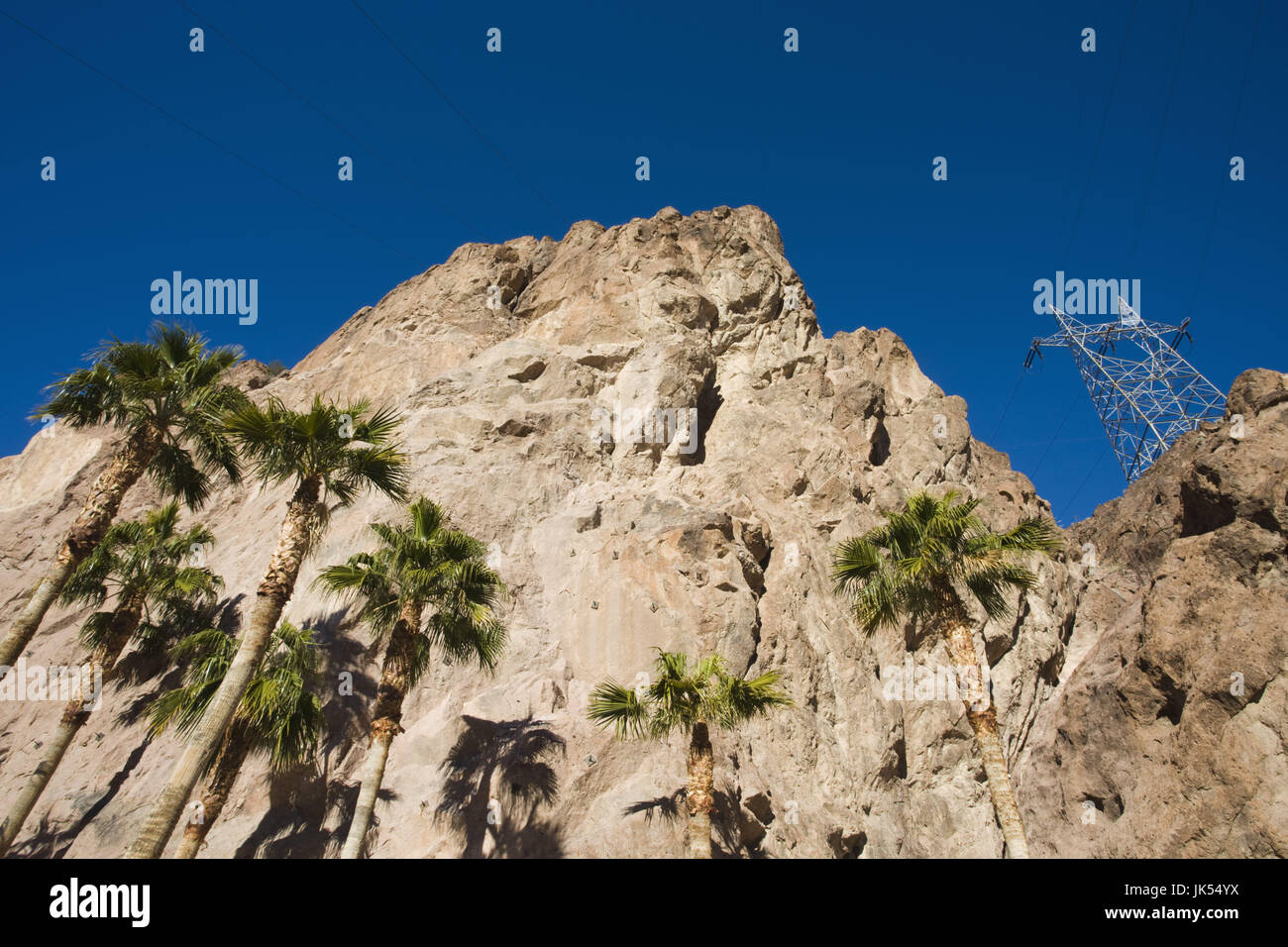 USA, Nevada, Boulder City, Hoover Dam, powerlines and palms, morning - Stock Image