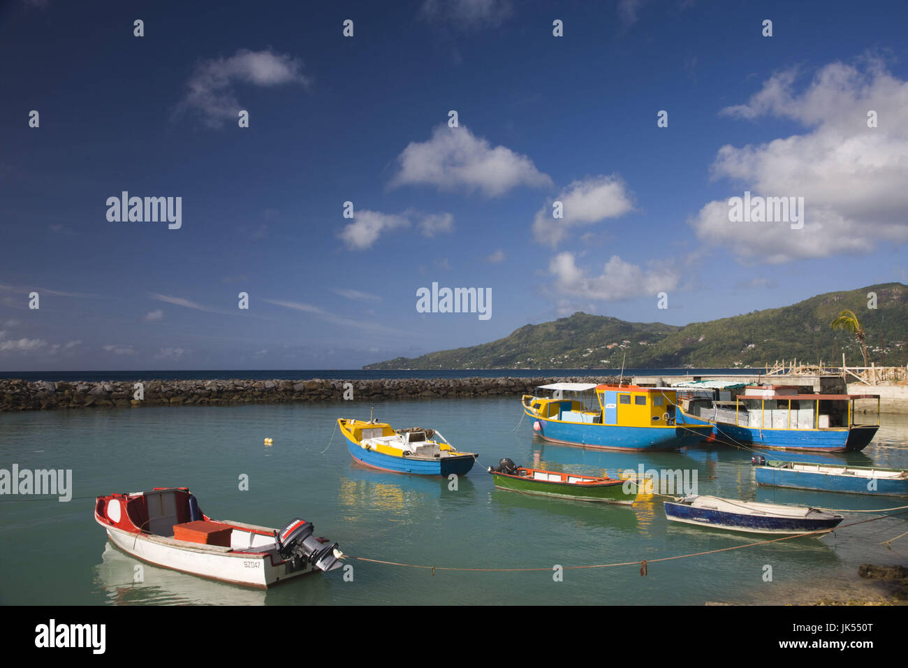 Seychelles, Mahe Island, Bel Ombre, town pier - Stock Image