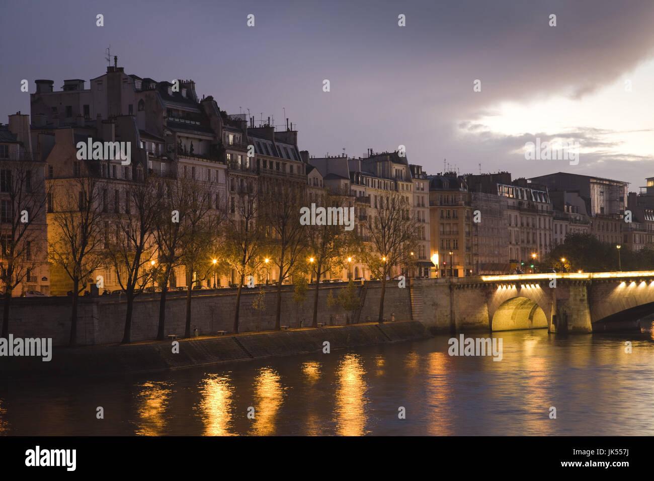 France, Paris, Ile St-Louis, dawn - Stock Image