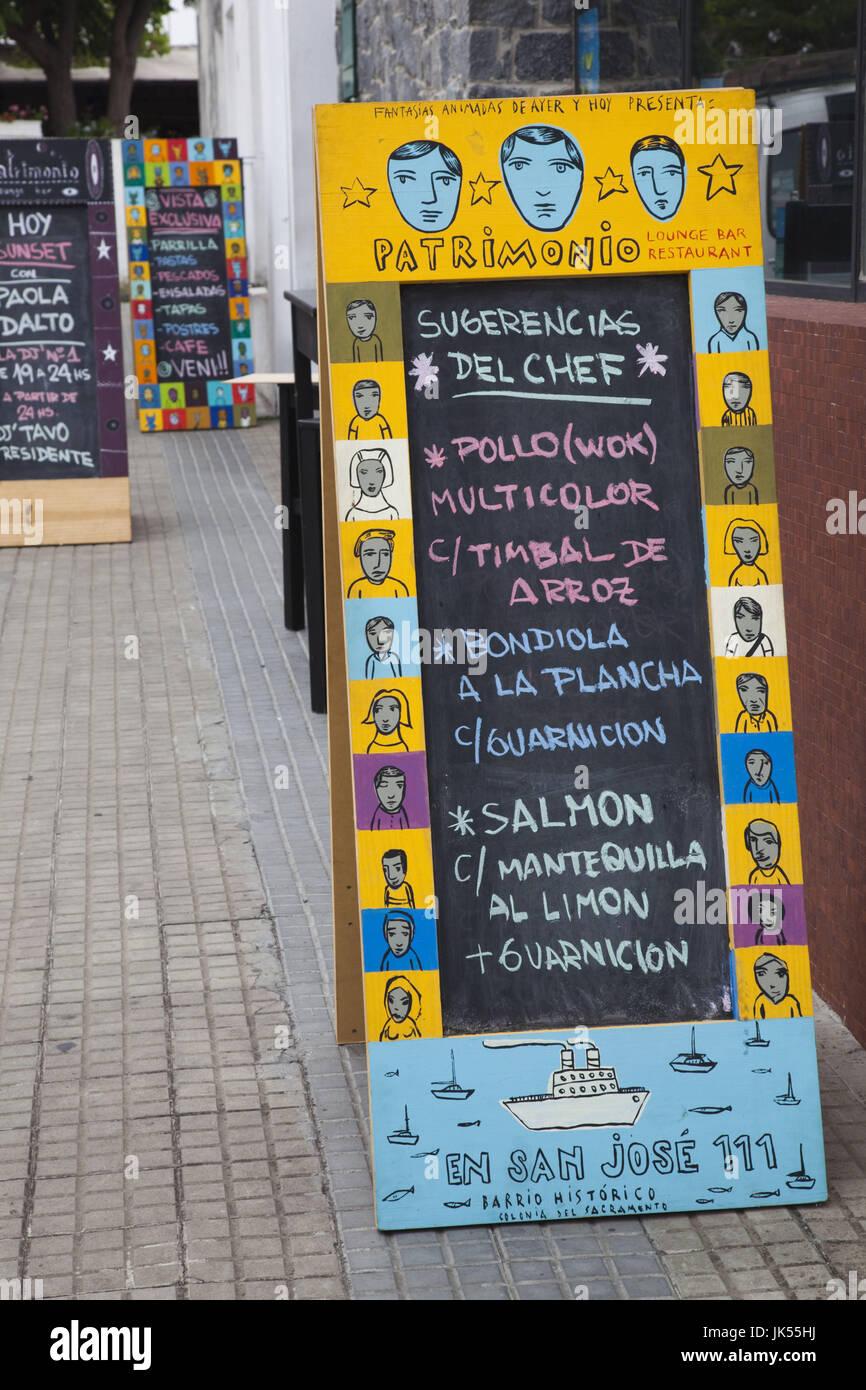 Uruguay, Colonia del Sacramento, restaurant menus, Calle San Jose - Stock Image