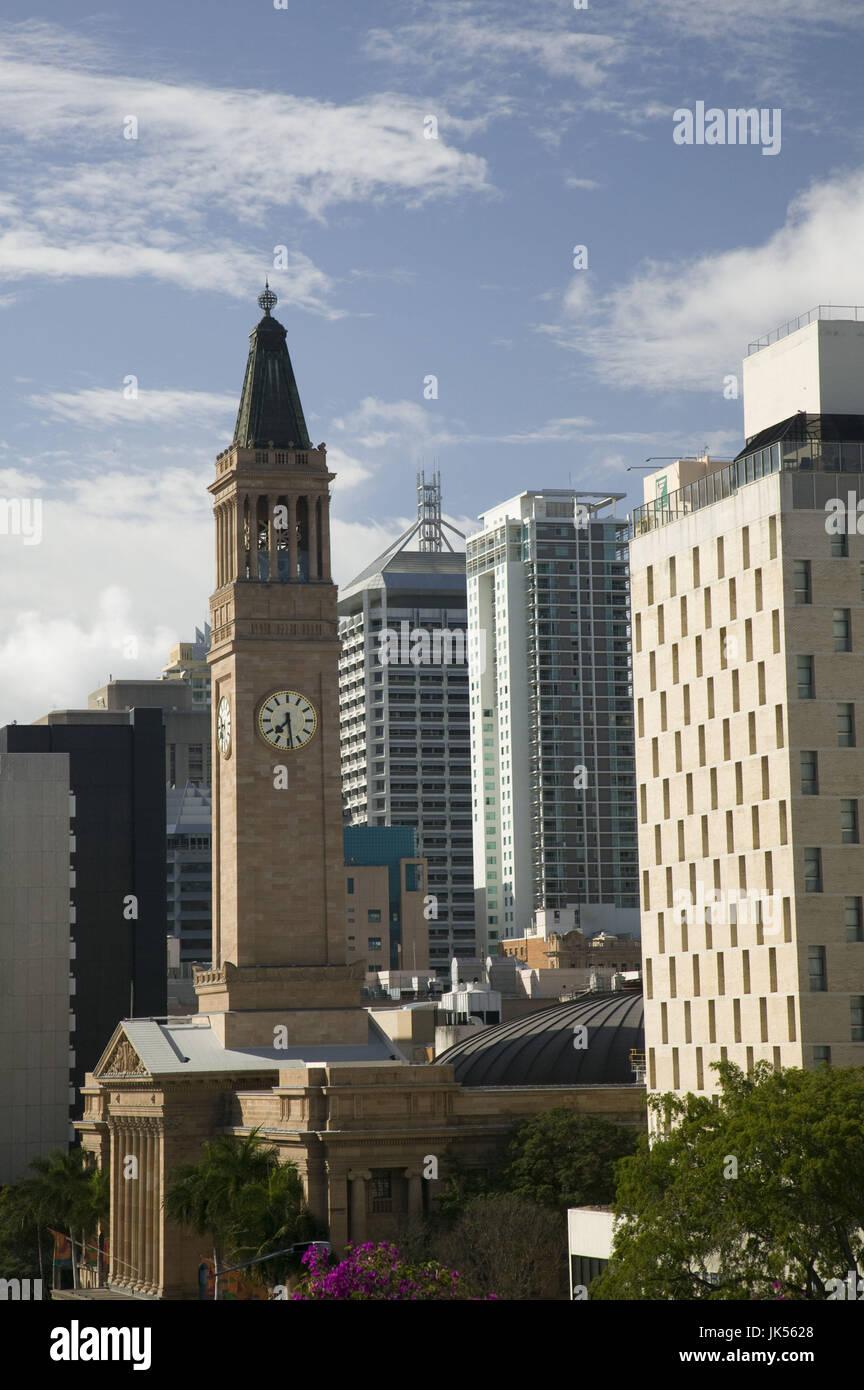 Australia, Queensland, Brisbane, Morning View towards Brisbane City Hall along Albert Street, - Stock Image