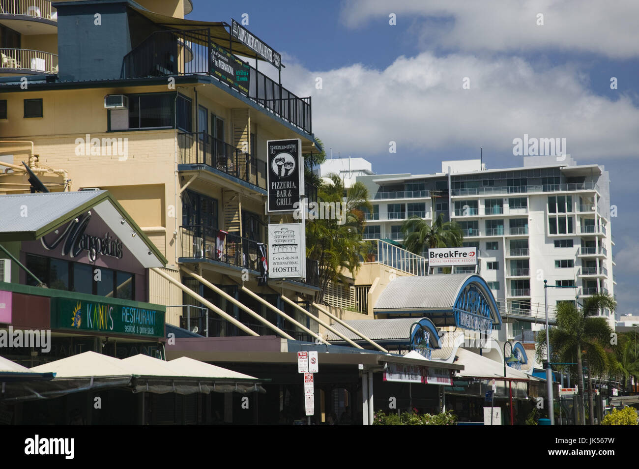 Australia, Queensland, North Coast, Cairns, Buildings along the Esplanade, Stock Photo