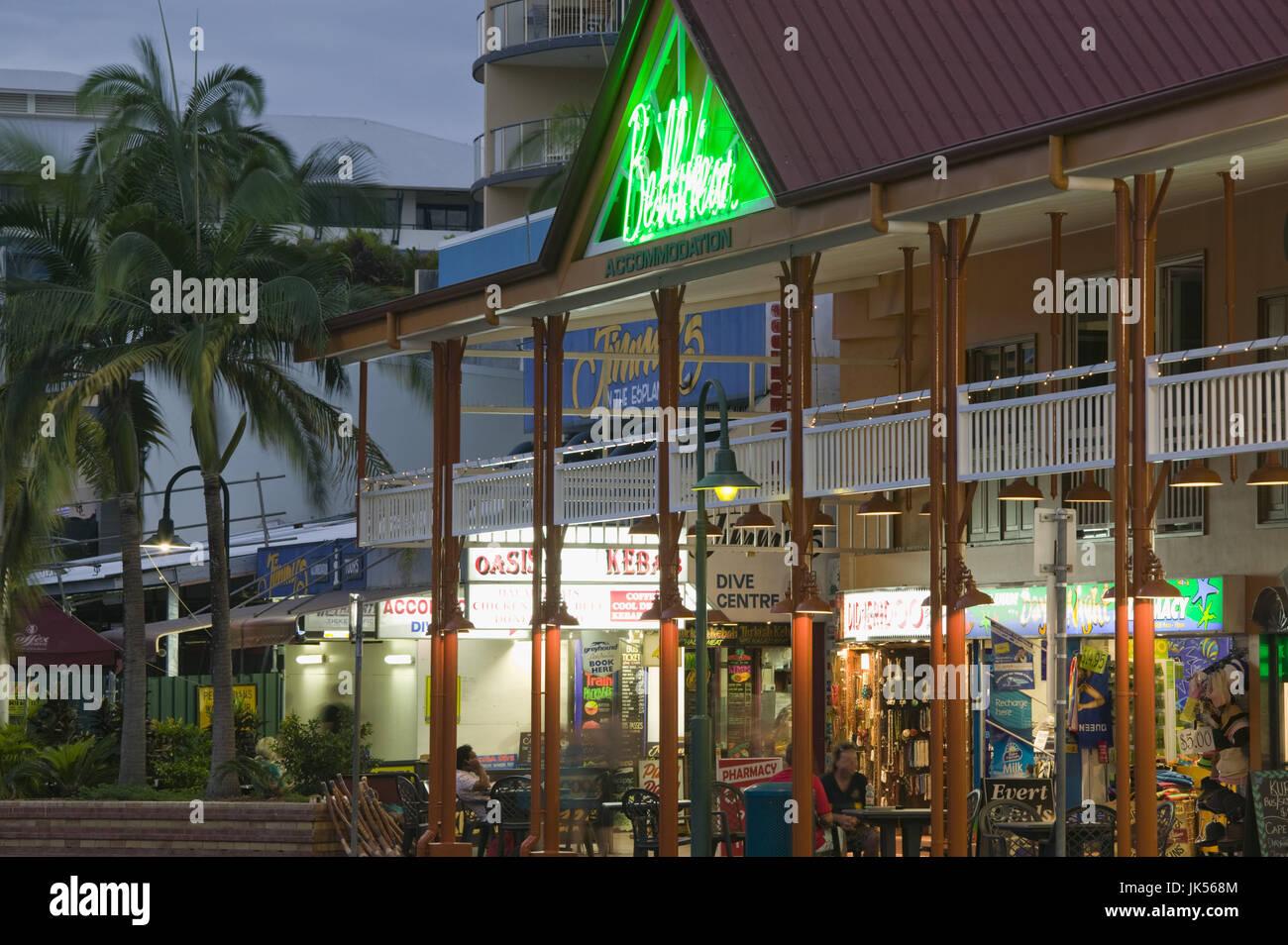 Australia, Queensland, North Coast, Cairns, Evening View of the Esplanade, Stock Photo