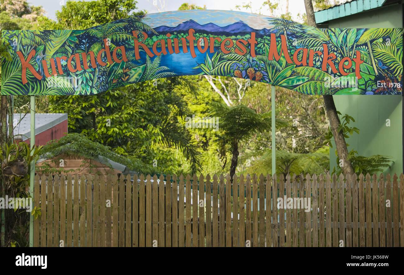 Australia, Queensland, North Coast, Kuranda, Sign for the Kuranda Markets, Stock Photo