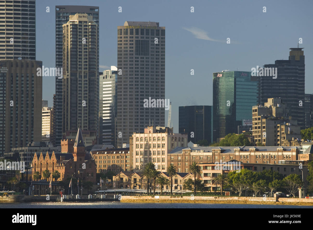 Australia, New South Wales, Sydney, Sydney and The Rocks Historic Area seen from Kirribilli, morning, - Stock Image