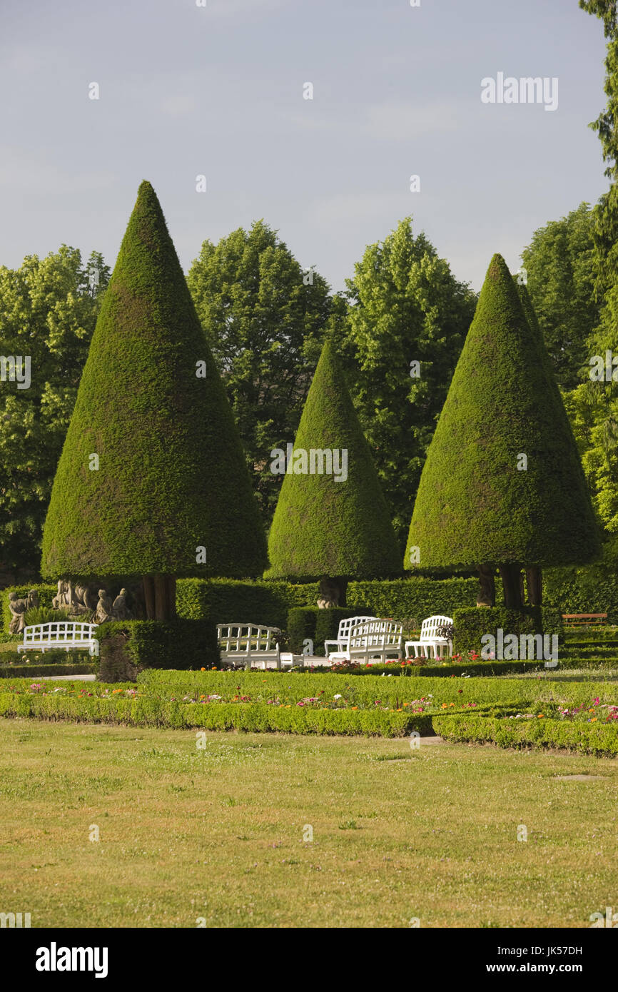 Germany, Bavaria, Würzburg, Hofgarten, pointy trees, - Stock Image