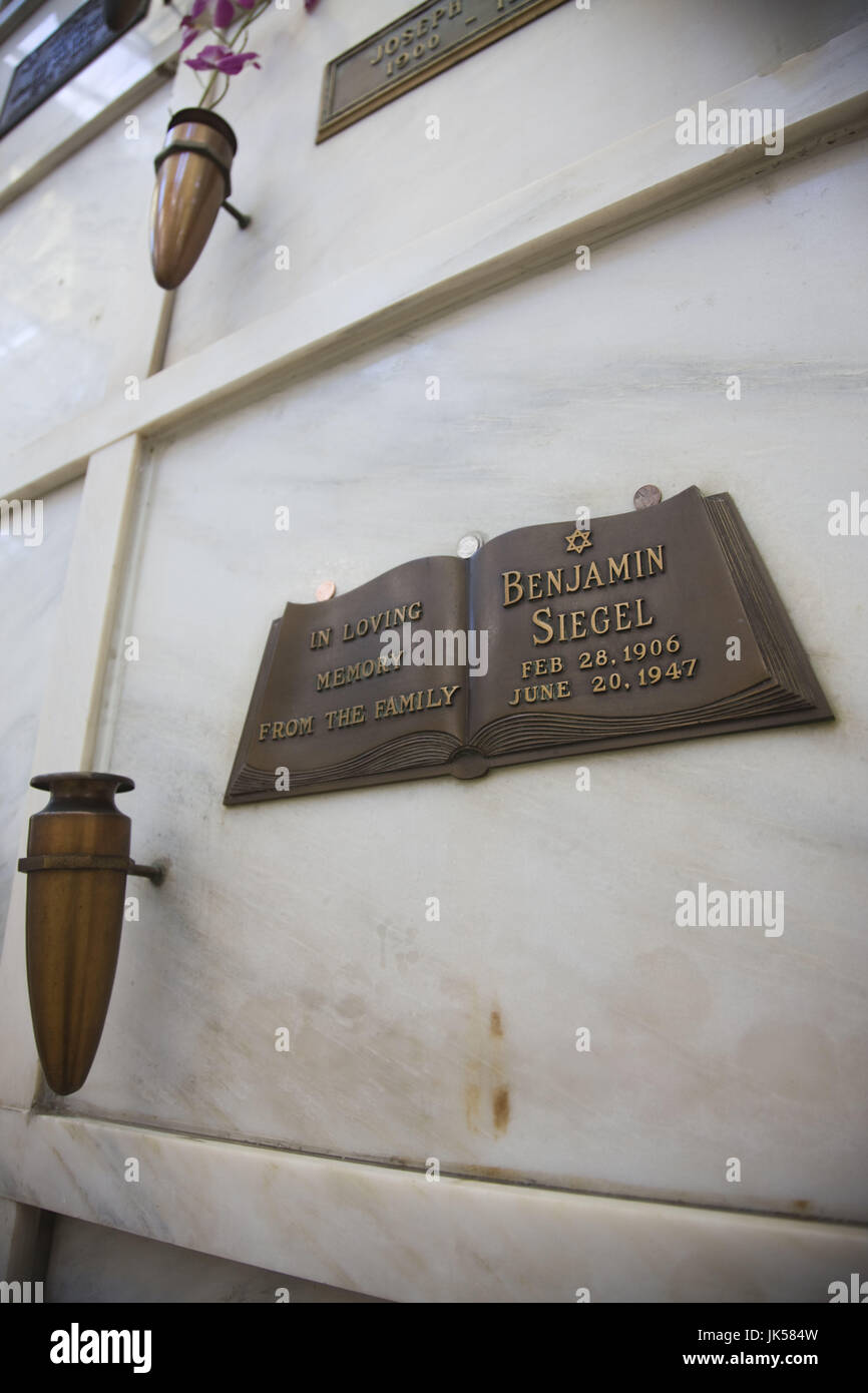USA, California, Los Angeles, Hollywood, Hollywood Forever Cemetery, resting place of Benjamin 'Bugsy' Siegel, - Stock Image