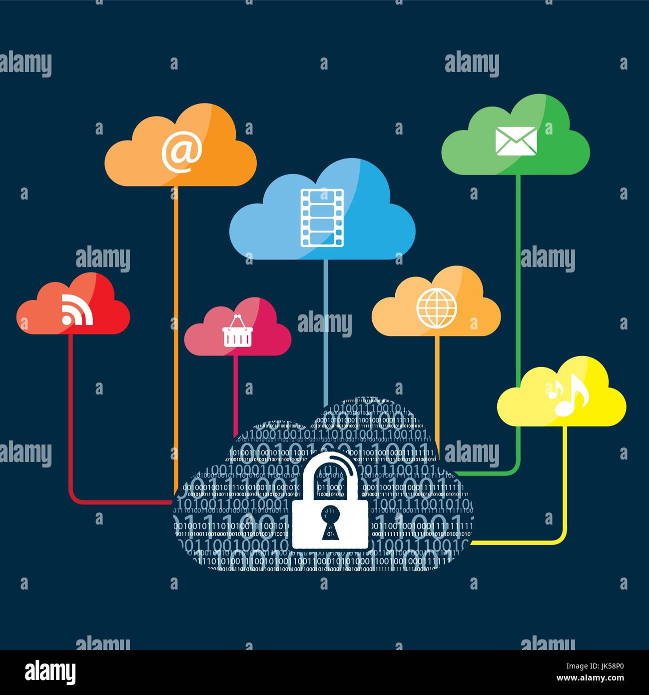 Internet security in cloud computing and binary code. Medias sharing in the cloud. - Stock Image