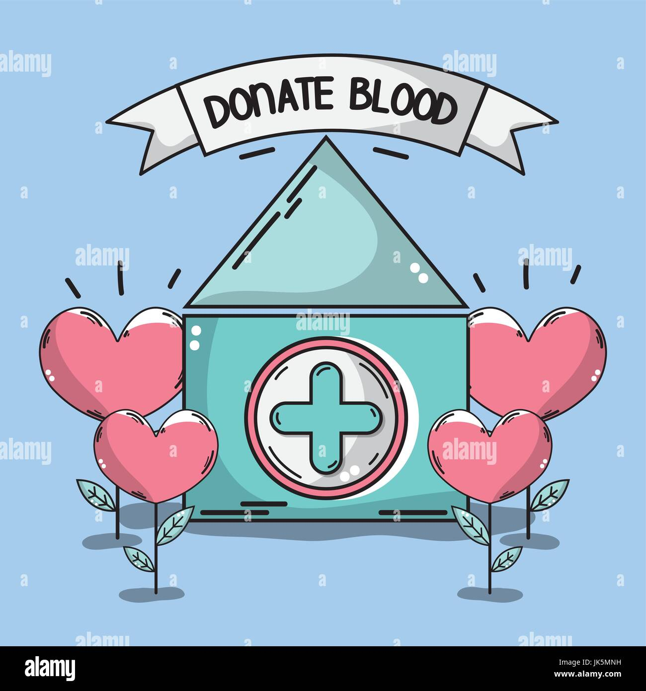 blood donation house with heart plant stock vector art