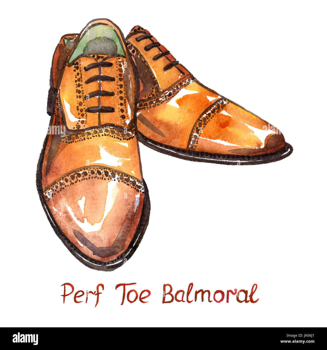 Brown leather perf toe balmoral shoes, isolated with inscription, hand painted watercolor illustration - Stock Image