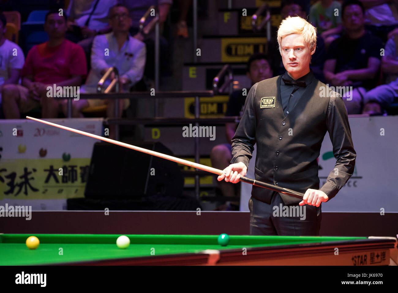 Hong Kong, Hong Kong. 22nd July 2017. Neil Robertson of Australia reacts during the semi-final match against Marco - Stock Image