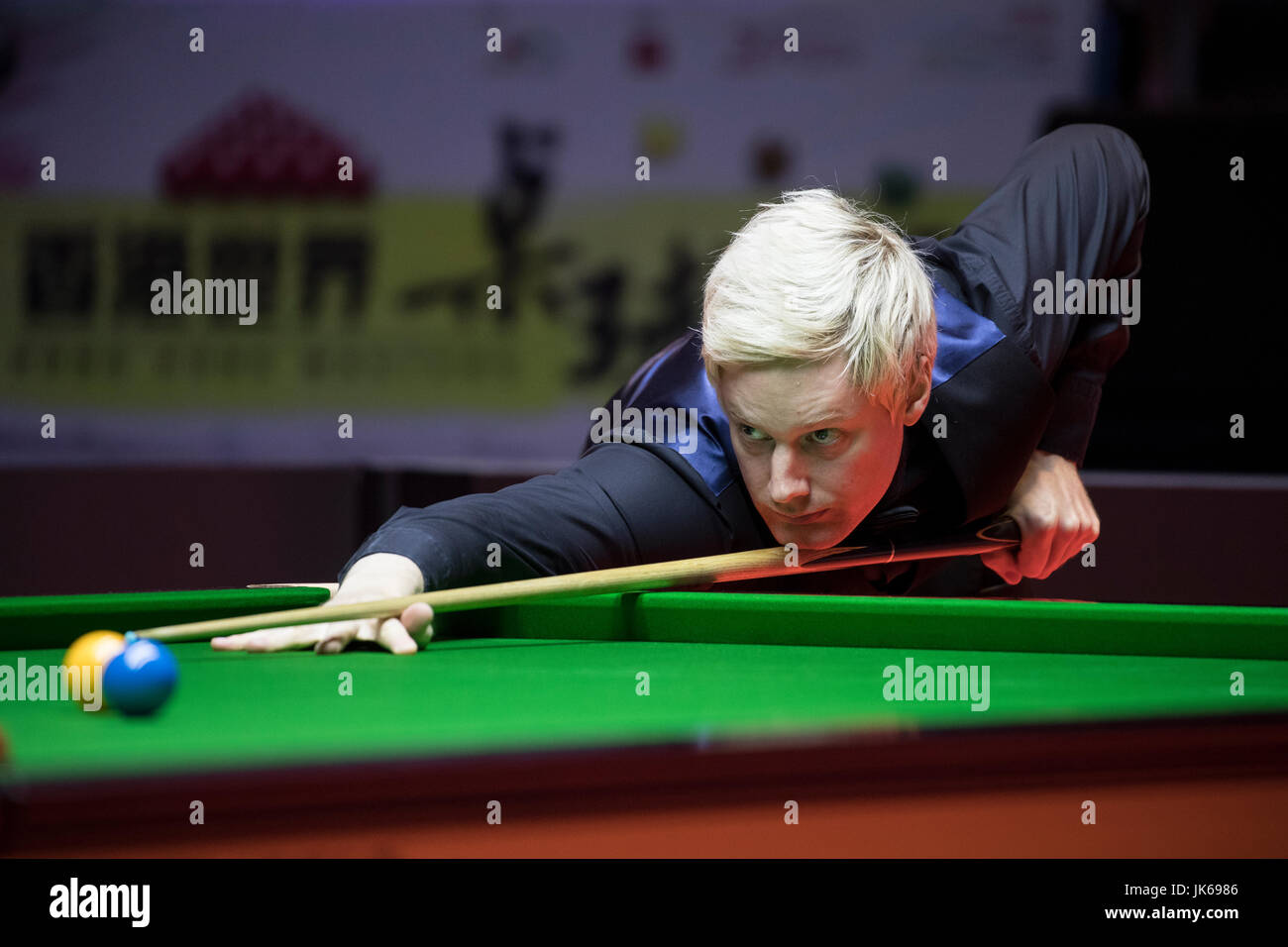Hong Kong, Hong Kong. 22nd July 2017. Neil Robertson of Australia reacts during the semi-final match against Marco - Stock Image