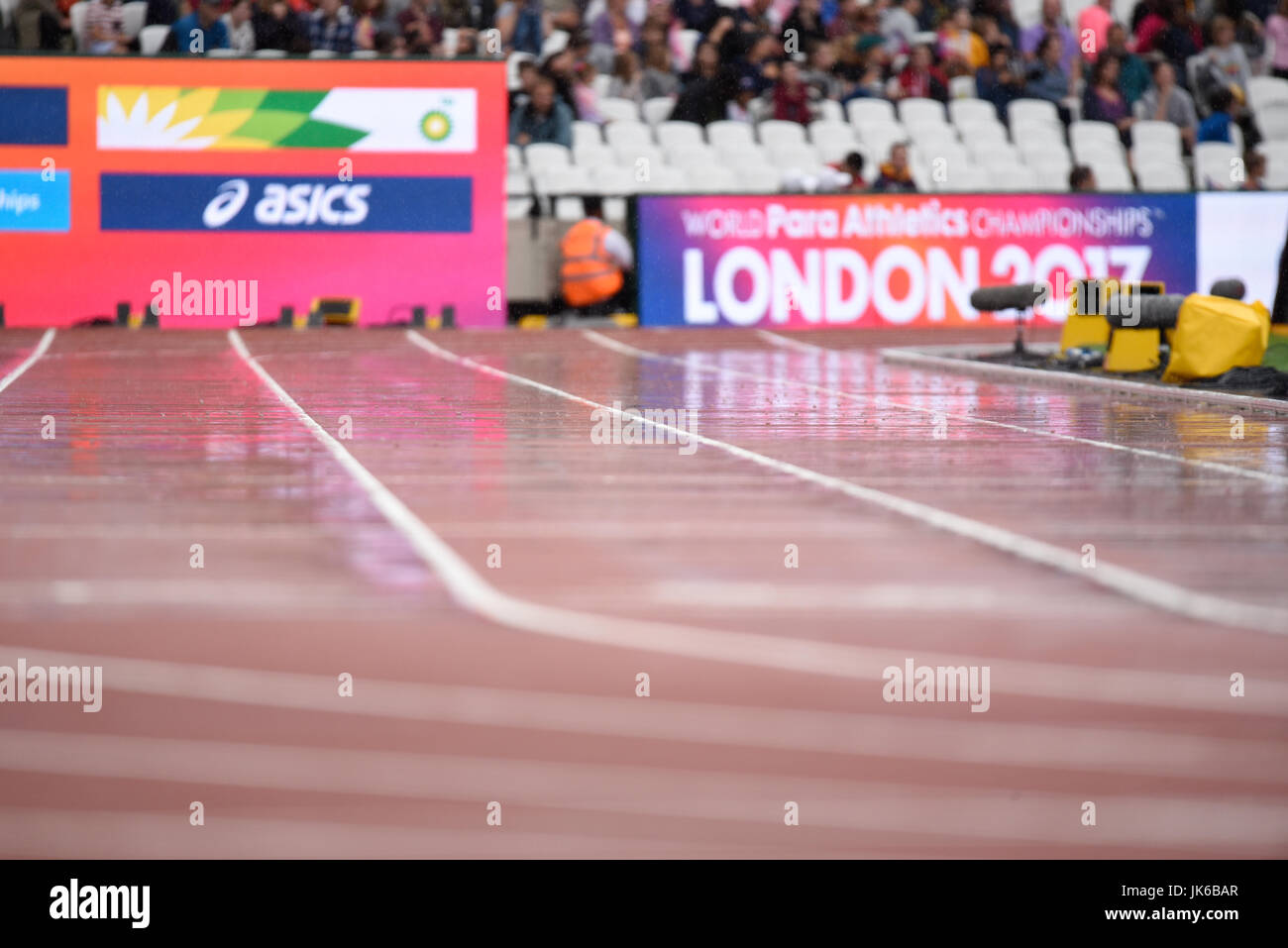 Wet track in the London Stadium at the World Para Athletics Championships Stock Photo