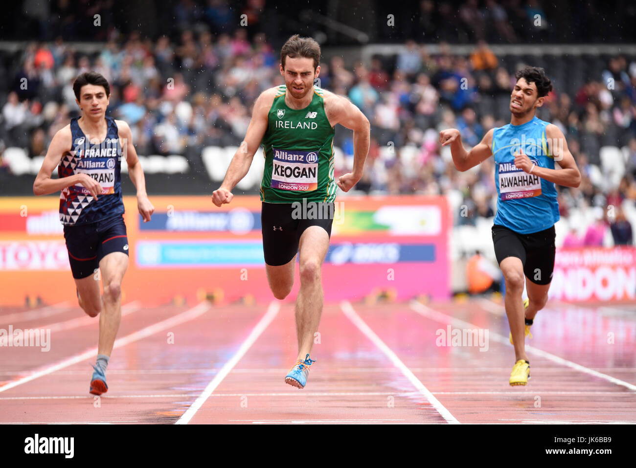 Irish athlete Paul Keogan in 400m T37 heat on a wet track at the World Para Athletics Championships in the London Stock Photo