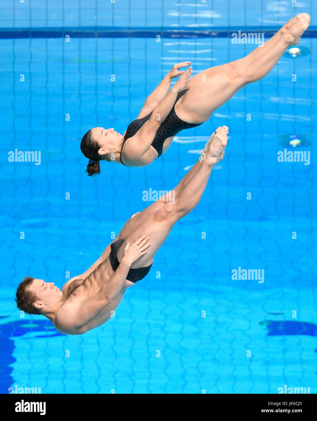 Budapest, Hungary. 22nd July, 2017. Viktorija Kesar and Stanislaw Oliferschyck of the Ukraine in action during the - Stock Image