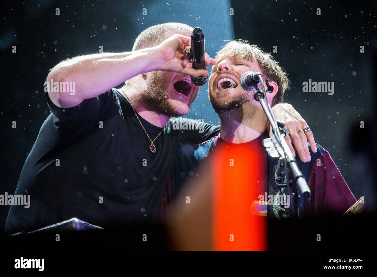 Locarno, Switzerland. 21st July, 2017. The American band IMAGINE DRAGONS performs live on stage in Piazza Grande - Stock Image