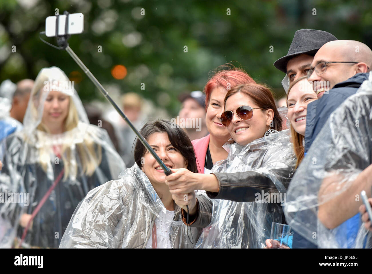 London, UK.  22 July 2017.   'Nashville Meets London', a country music festival, takes place in Canary Wharf. - Stock Image