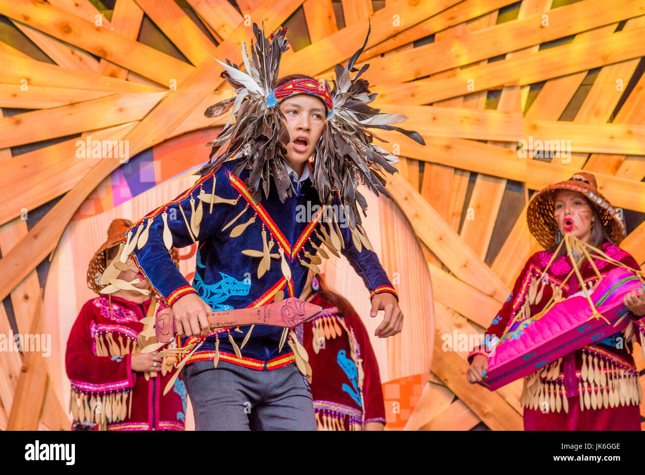 Vancouver, Canada. 22nd July, 2017. Musqueam Wolf Pack Dance group. The Drum is Calling Festival, Canada 150+ event, Stock Photo