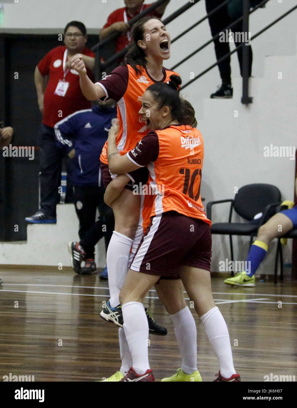 Unochapeco s players jubilate a goal against Sport Colonial during their  women s futsal Copa Libertadores final at the Paraguayan Olympic Committee  in Luque ... eefb63faf8ae9