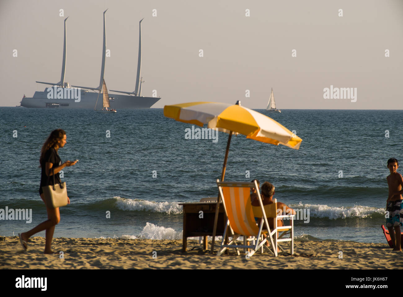 Lido Di Camaiore, Italy. 22nd July, 2017. Yacht A, owned by Russian billionaire Andrey Melnichenko, is anchored - Stock Image