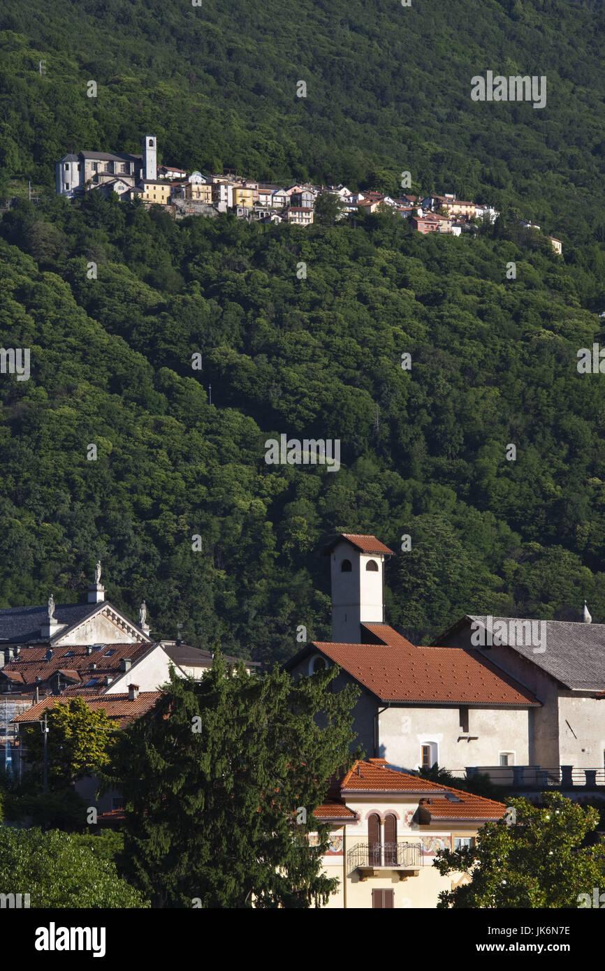 Italy, Piedmont, Lake Maggiore, Sant Agata, hilltown above Cannobio, dawn - Stock Image