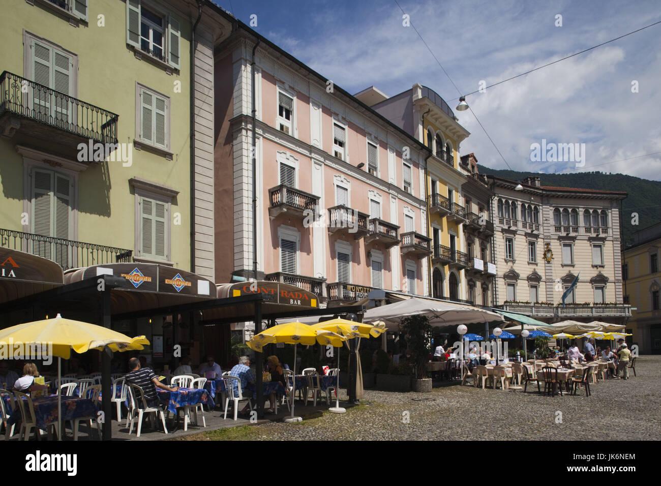Switzerland, Ticino, Lake Maggiore, Locarno, buildings on Piazza Grande - Stock Image