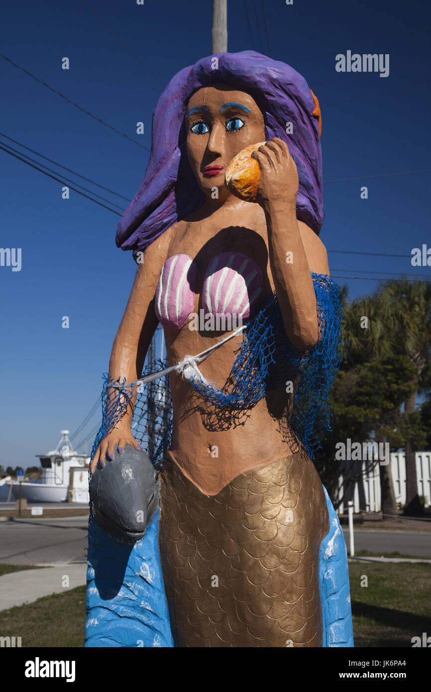 USA, Florida, Florida Panhandle, Apalachicola, mermaid statue - Stock Image