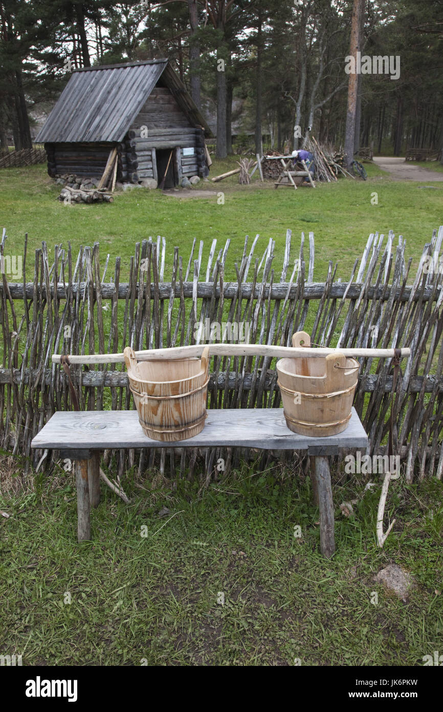 Estonia, Tallinn, Rocca Al Mare village, Estonian Open Air Museum, water buckets and yoke for carrying well water - Stock Image