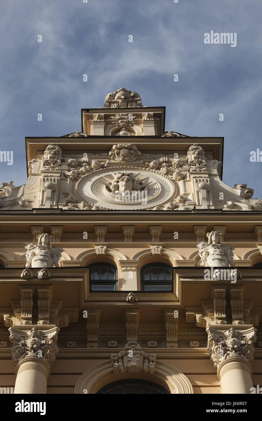 Latvia, Riga, Art Nouveau District, building detail at 13 Alberta Iela Street - Stock Image