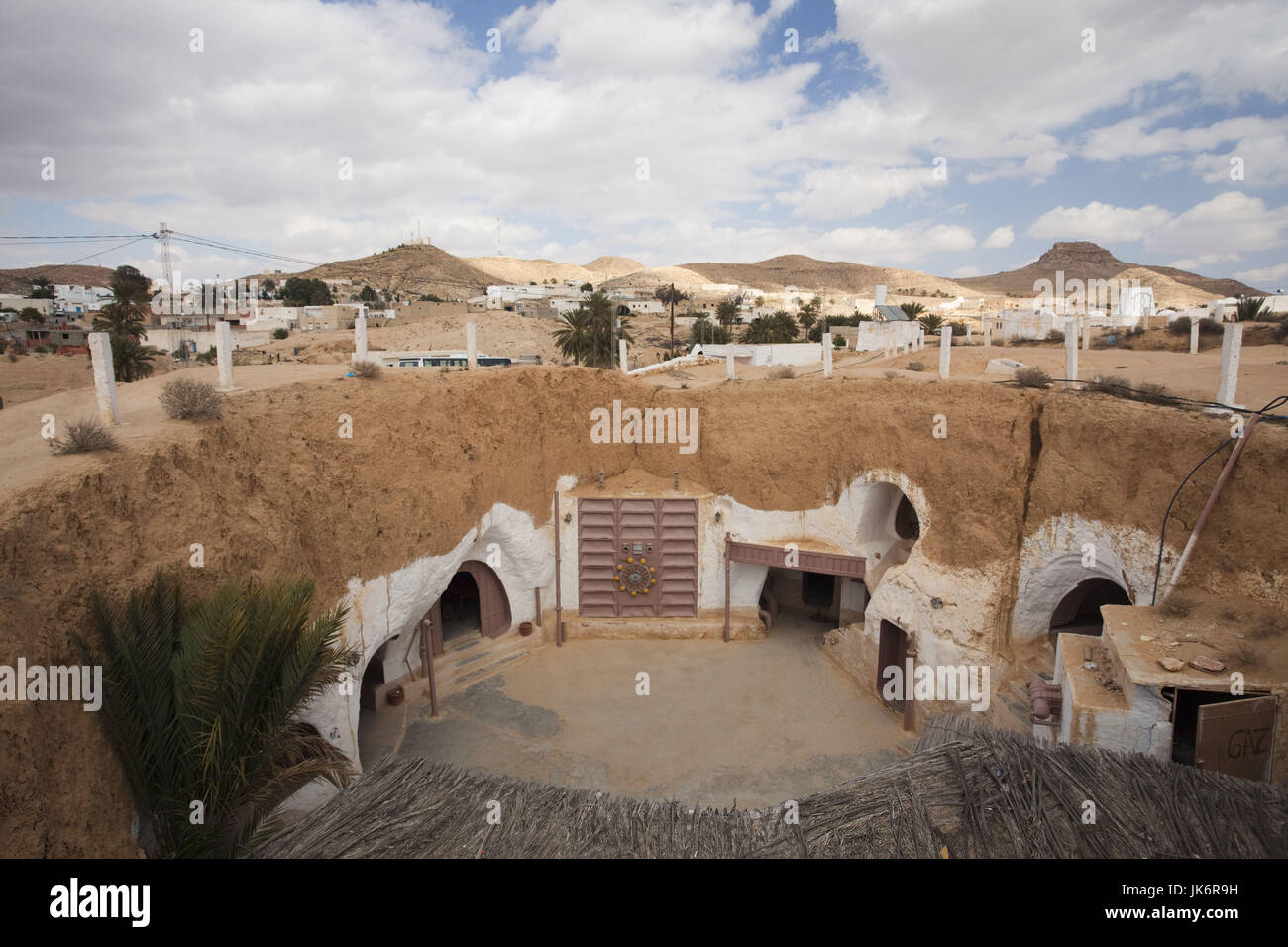 Tunisia, Ksour Area, Matmata, elevated view of underground Hotel Sidi Driss, once a set for the film Star Wars - Stock Image