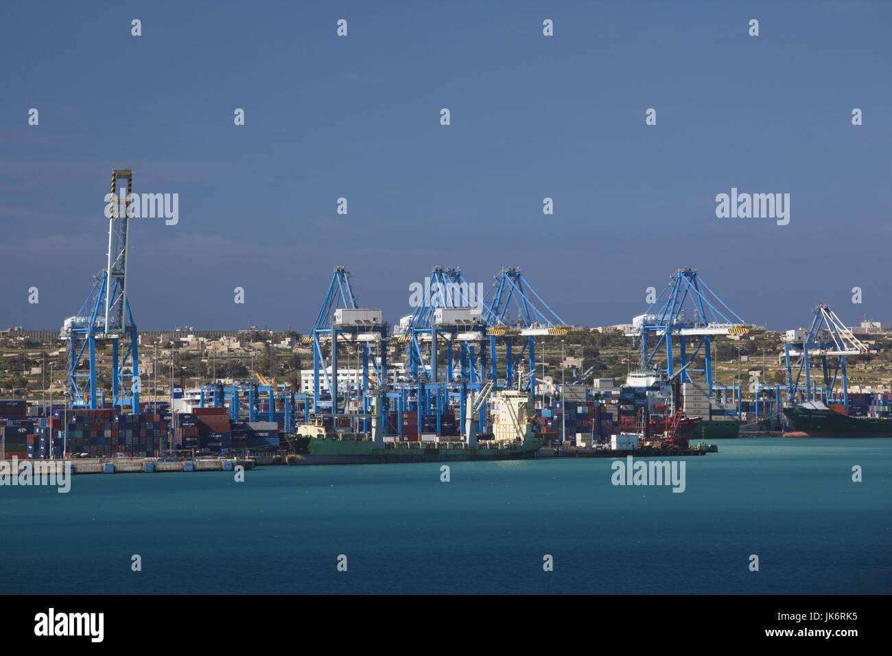 Malta, Southeast, Marsaxlokk, Malta Freeport, Marsaxlokk Bay - Stock Image