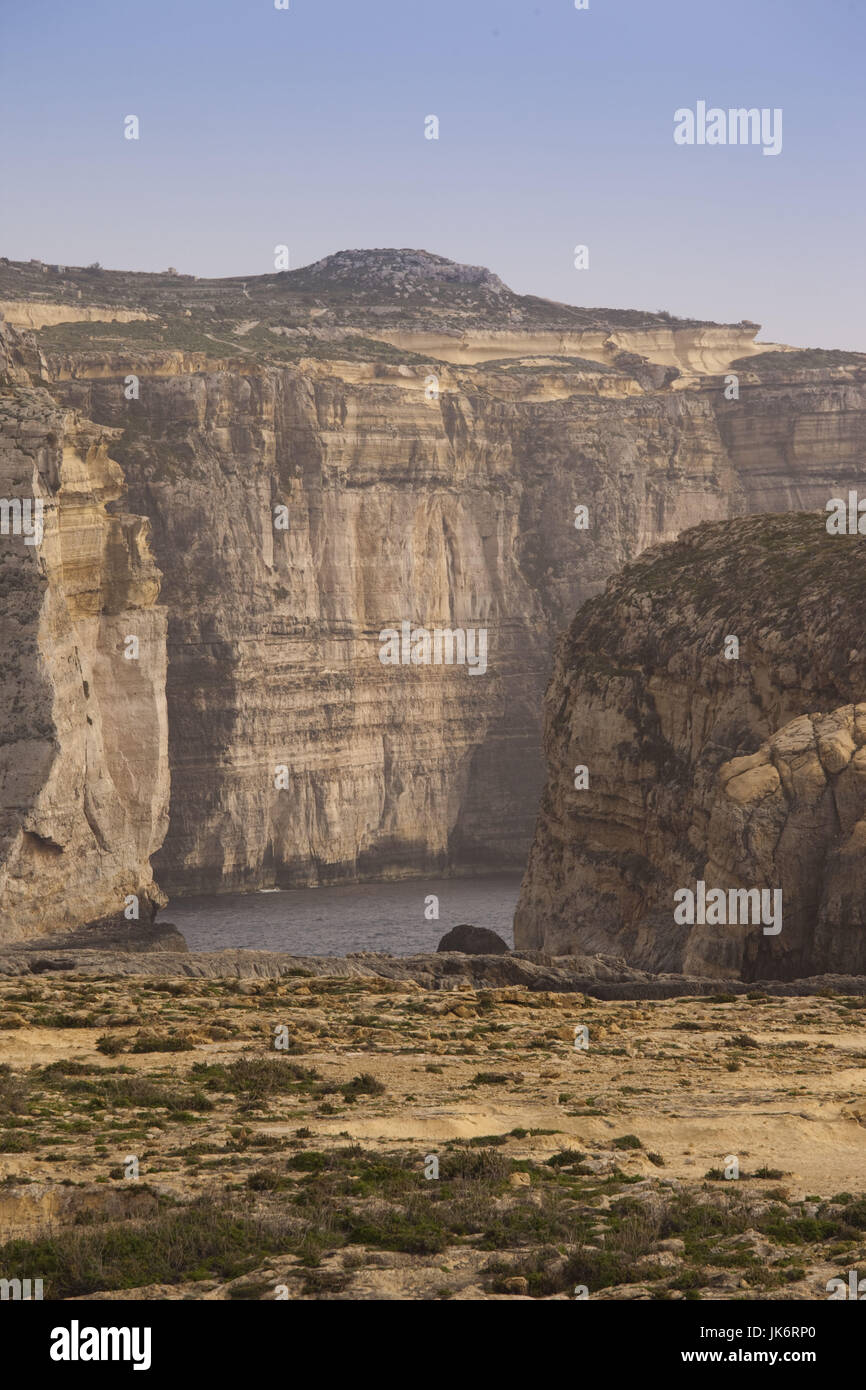 Malta, Gozo Island, Dwejra, coastal cliffs and Fungus Rock, only place in Europe where General's Root-cynomorium - Stock Image