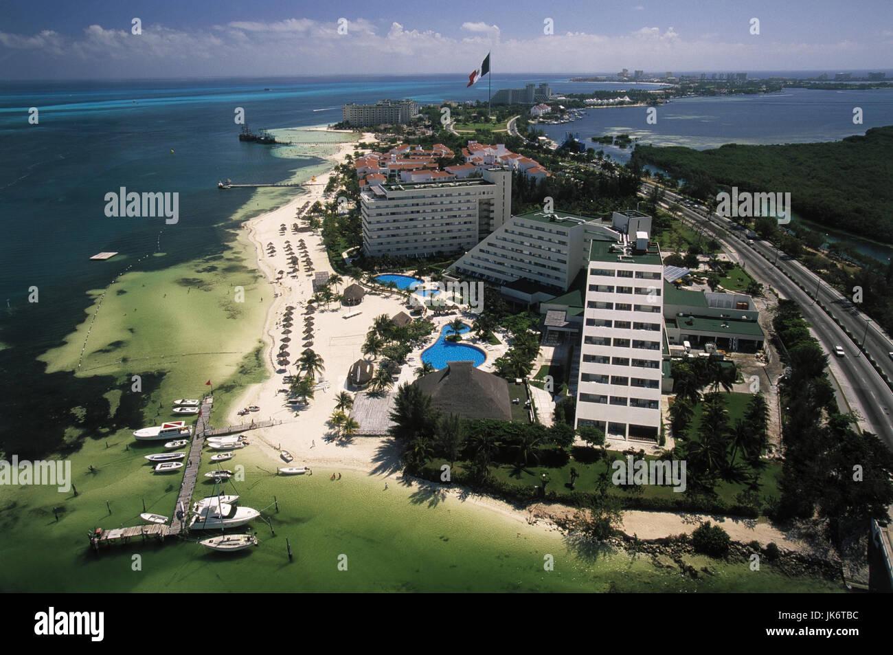Mexiko, Quintana Roo, Cancun,  Stadtübersicht, Playa Langosta, Bahia de Mujeres Mittelamerika, Stadt, Hochhäuser, - Stock Image