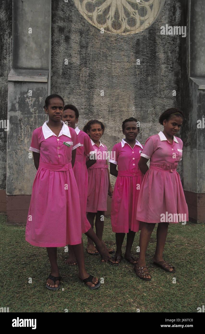 Fidschi Inseln, Insel Ovalau, Levuka,  Gebäude, Schülerinnen, Gruppenbild  Südsee, Schule, Kinder, - Stock Image