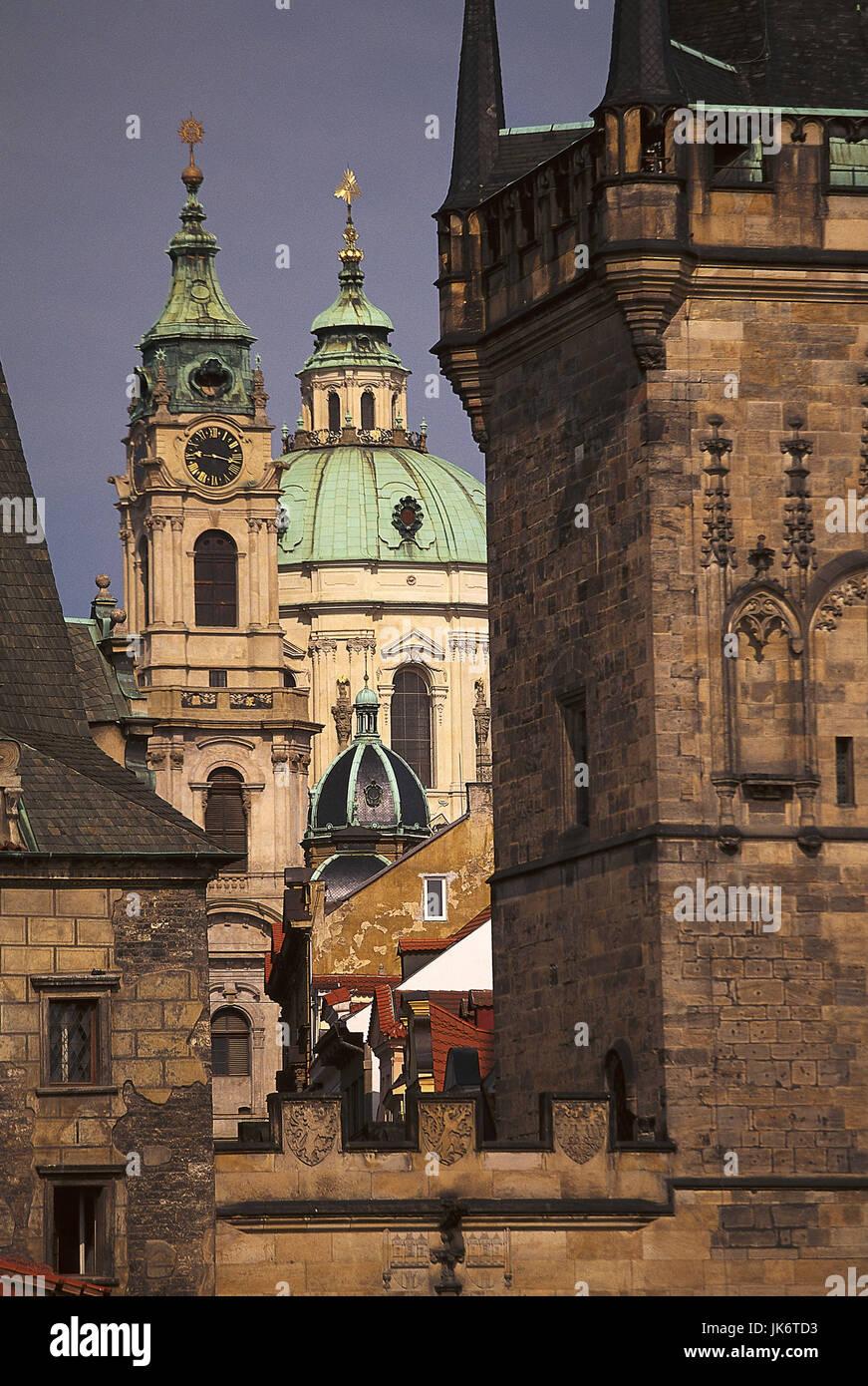 Tschechische Republik, Mittelböhmen,  Praha, Kleinseite, Kirche St. Niklas,  Brückenturm, Detail Europa, Osteuropa, Stock Photo