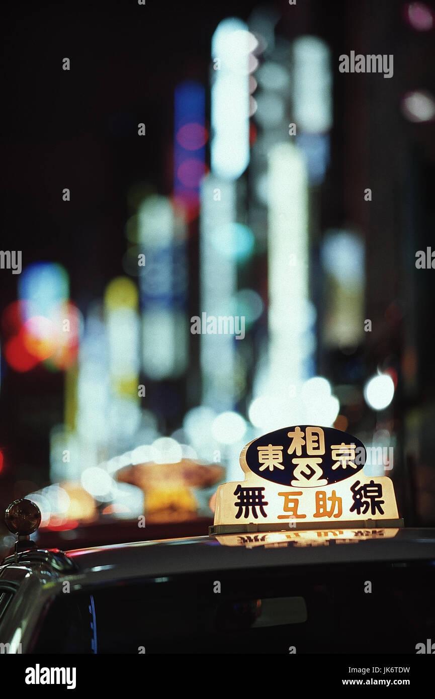 Japan, Tokio, Ginza, Taxi, Detail, Nacht  außen, Stadt, Verkehrsmittel, Tokyo-to, Personenbeförderung, - Stock Image