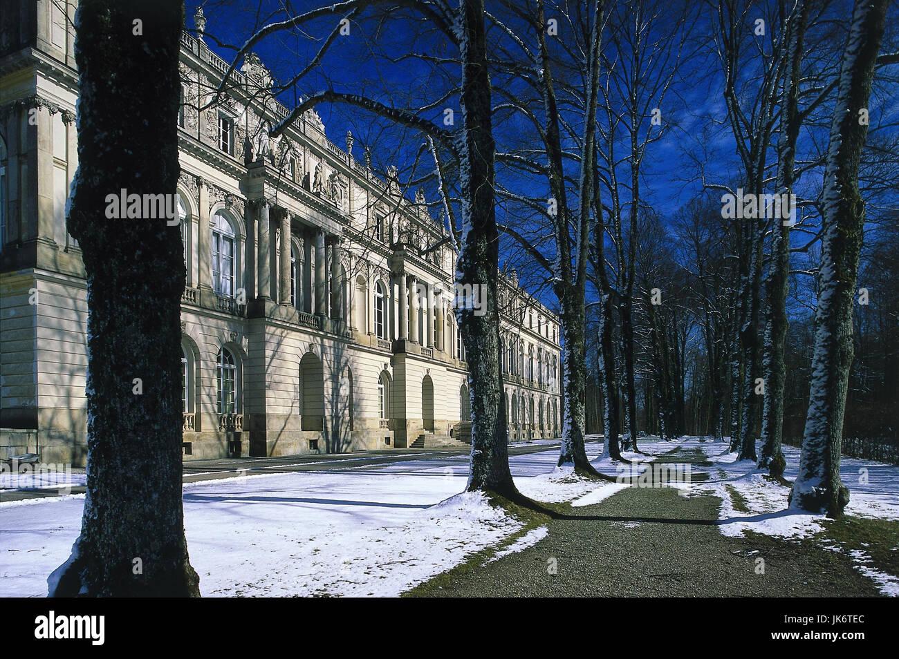 Deutschland, Bayern, Schloss  Herrenchiemsee, Detail, Winter  Sehenswürdigkeit, außen, Prunkschloss, König - Stock Image