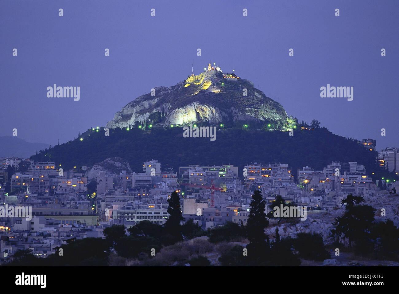 Griechenland, Region Attika, Athen,  Stadtübersicht, Altstadt 'Plaka', Kalksteinfels 'Lykavittos', - Stock Image