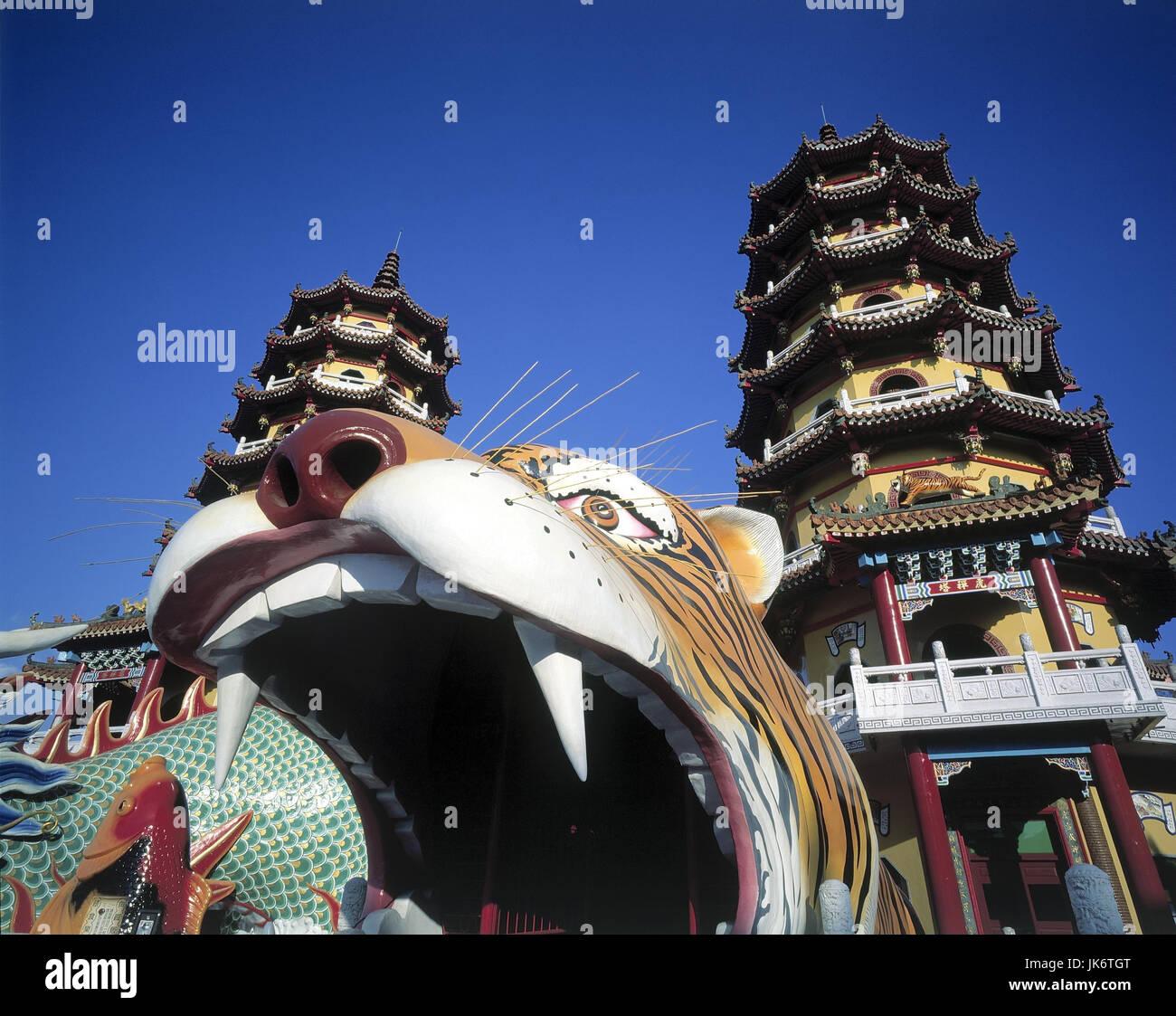Taiwan, Kaohsiung, Lotossee, Drachen-und Tigerpagode, Detail  Asien, Ostasien, Kultur, Baukunst, Pagode, Pagoden, - Stock Image