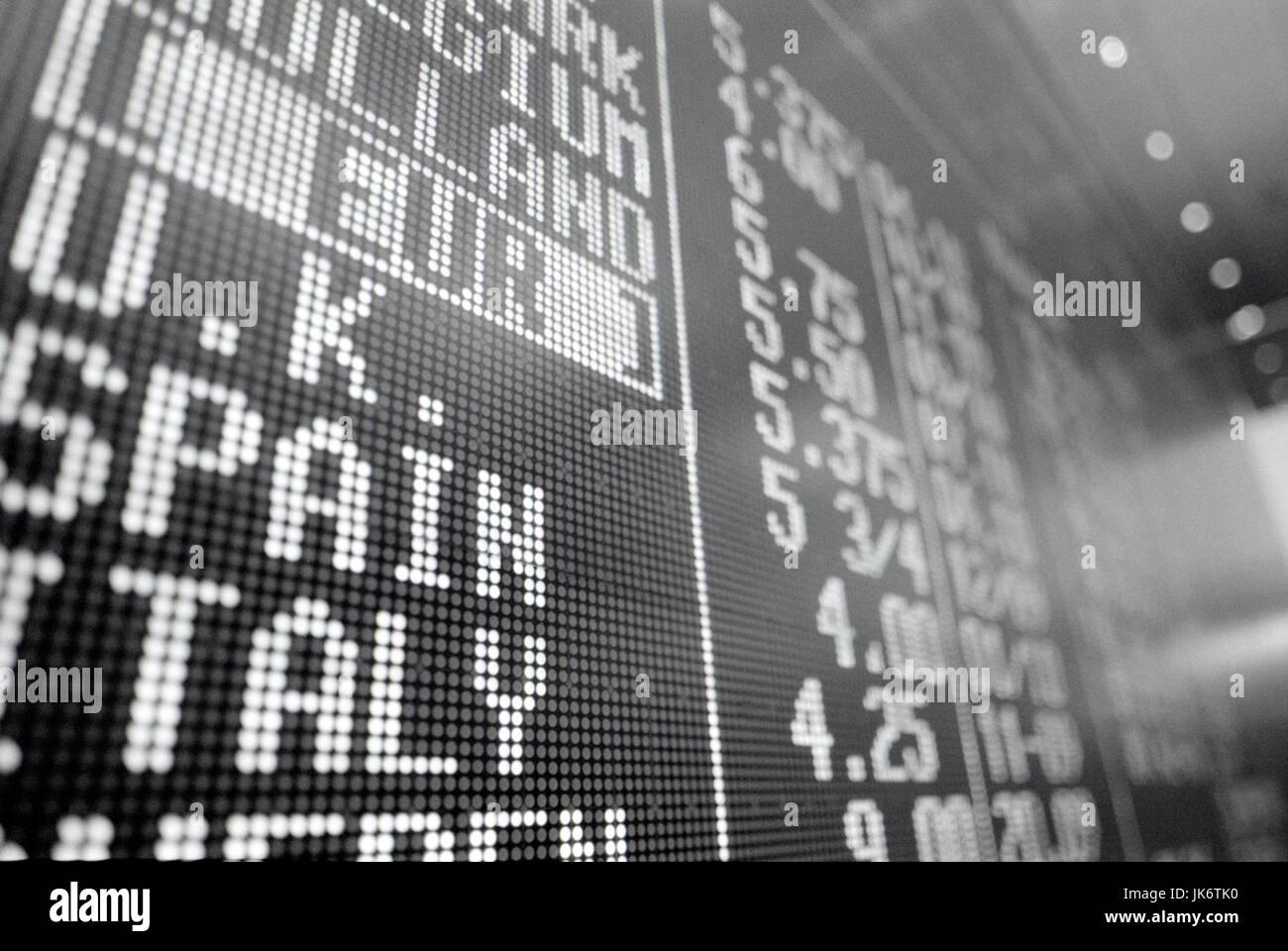 Schweiz, Zürich, Börse, Anzeigetafel, Detail  Wirtschaft, Handel, Aktienmarkt, Information, Informationstafel, - Stock Image