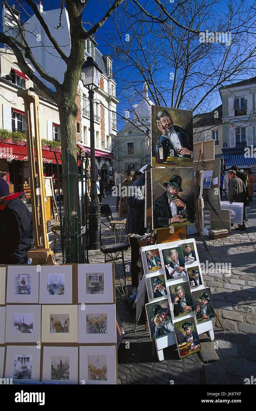 Frankreich, Paris, Montmartre,  Place du Tertre, Maler, Verkauf,  Bilder, Kunst Hauptstadt, Butte Montmartre, Stadtteil, - Stock Image
