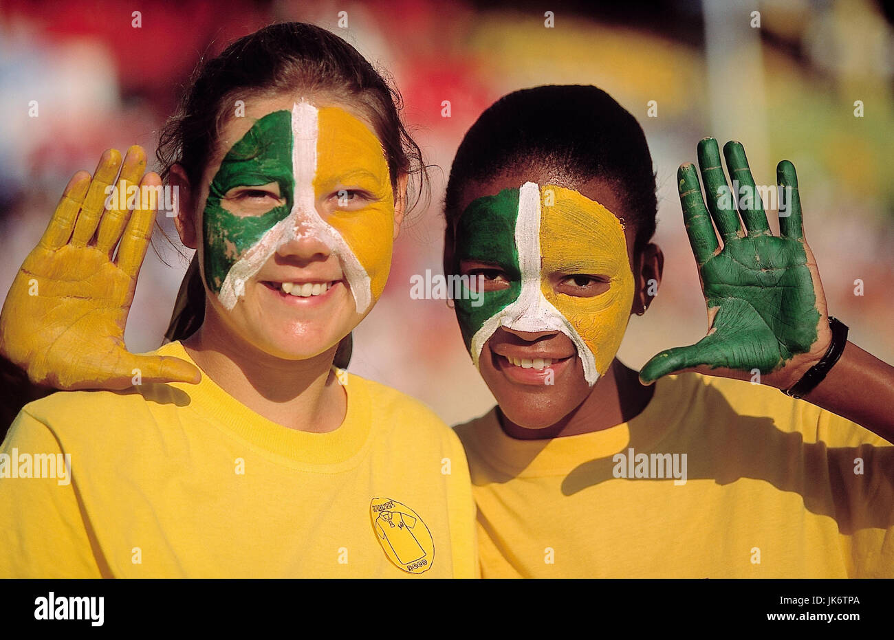 Großartig Gesicht Bemalen Foto Von Namibia, Windhuk, Schulkinder, Gesicht, Bemalung, Nationalfarben, Gestik,