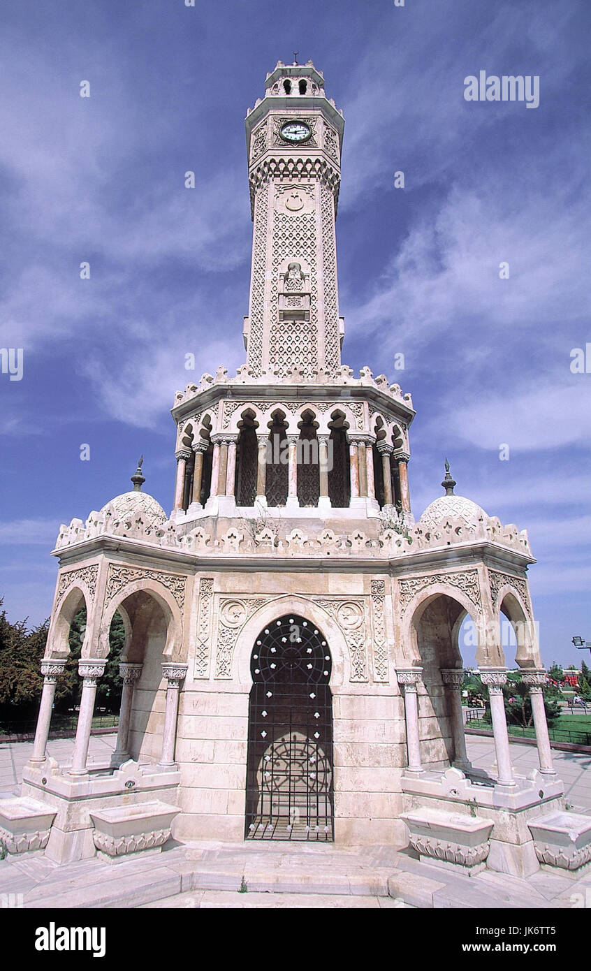 Türkei, Izmir, Konak-Platz, Uhrturm 'Saat Kulesi'  Ägäisches Meer, Westküste, Provinz - Stock Image